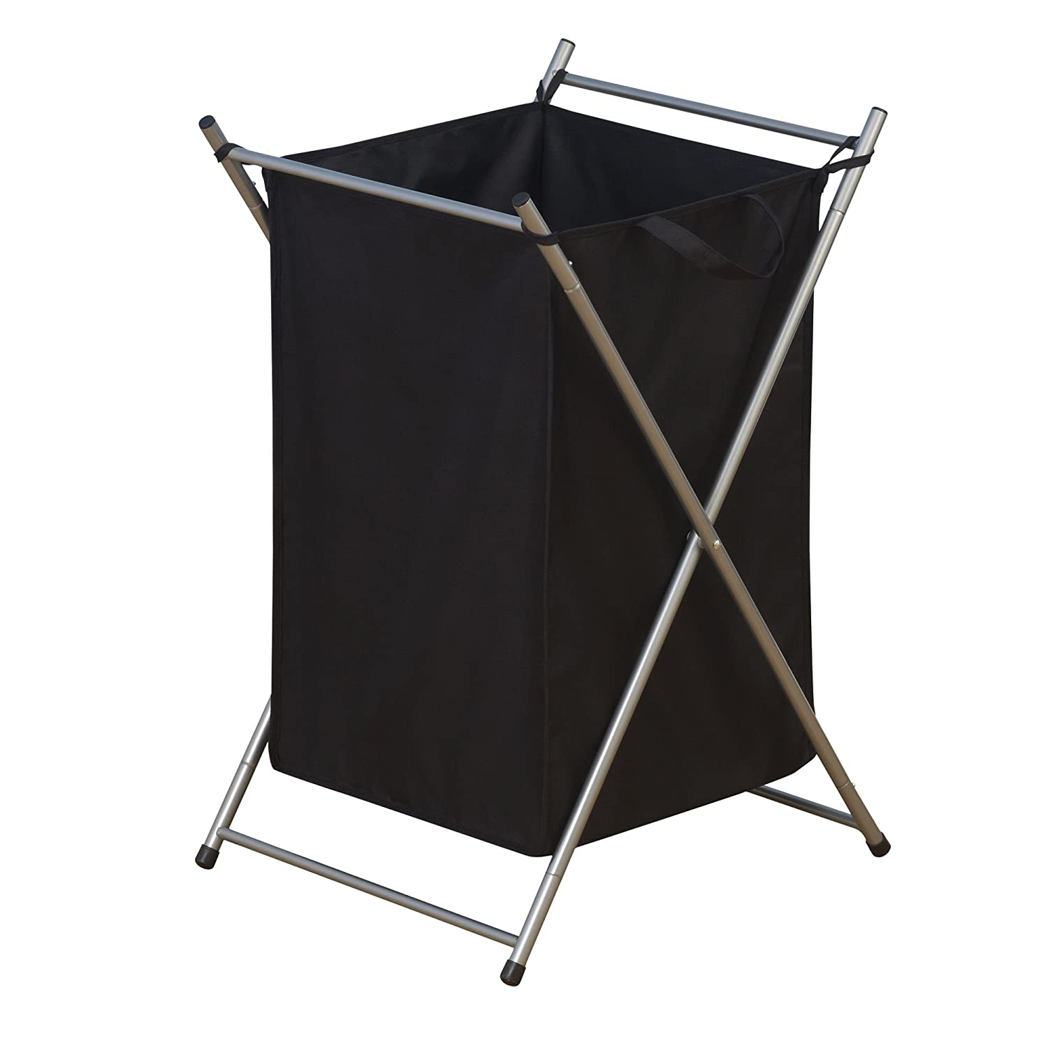 Household Essentials Folding Laundry Hamper with Black Polyester Bag, Satin Silver Frame 7043