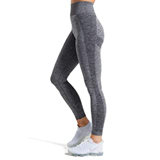 Aoxjox Women's Workout Seamless Leggings High Waised Flex Gym Sport Yoga Pants Tights (Charcoal Marl, Small)