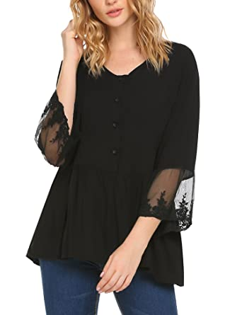 103f89469a7 EASTHER Womens Lace Patchwork Long Sleeve Blouse T Shirt Casual O Neck  Button Up Ruffle Hem