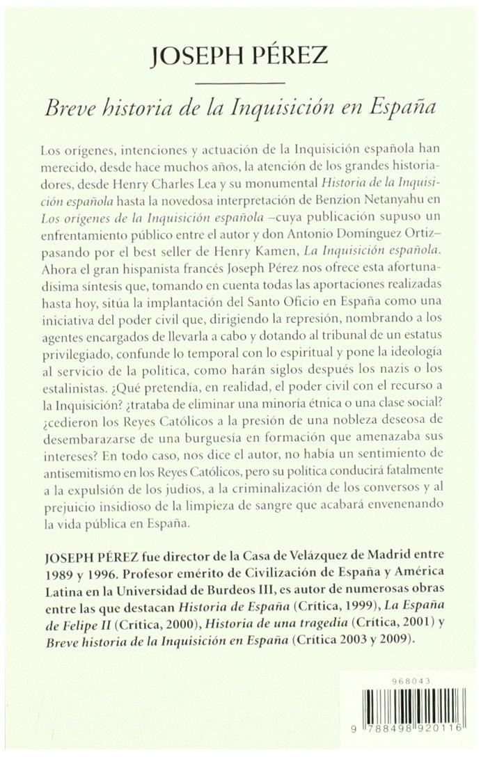 Breve historia de la inquisición en España Biblioteca de Bolsillo: Amazon.es: Pérez, Joseph: Libros