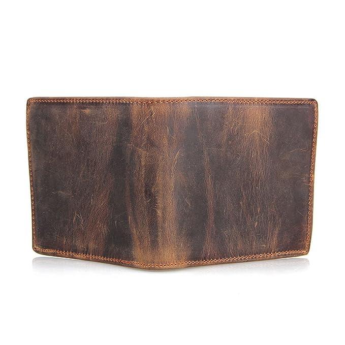 Amazon.com: Crazy Horse piel portafolios corto portafolios ...
