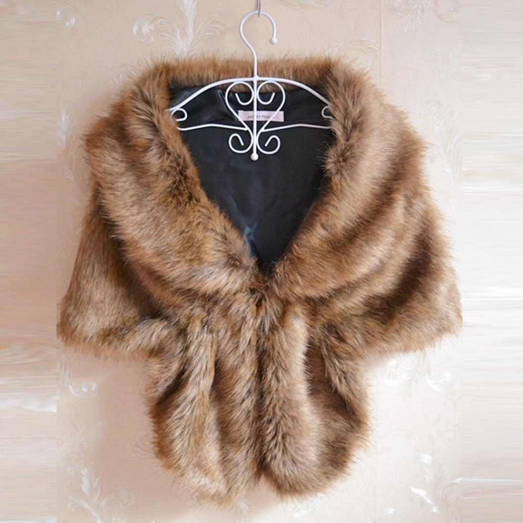 Bomdes Fashion Scarf Bridal Wedding Faux Fur Long Shawl Wrap Shrug Scarves