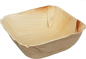 Bosnal - Palm Leaf Biodegradable Bowls, 5 inch, Square, 25 pcs, Compostable, Bamboo and Wood Style, Stackable, Restaurant Grade, Eco Friendly, Disposable