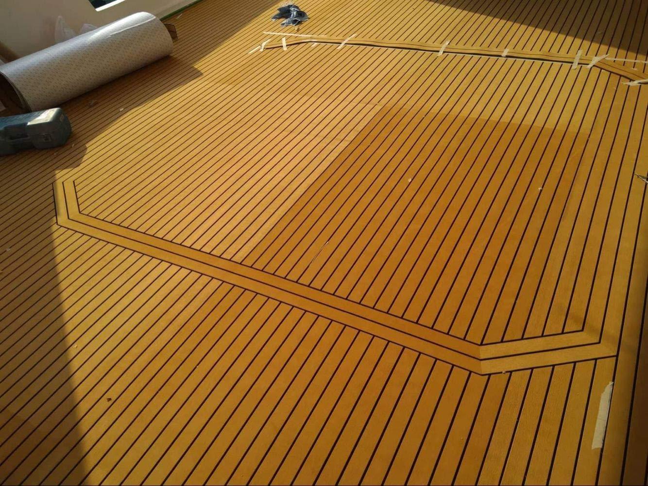 CHURERSHINING EVA Faux Teak Decking Sheet for Boat Yacht Marine Flooring Mat Non Skip Mat Self-Adhesive Carpet 35.4'' x94.5'' Light Brown/Grey (Light Brown) by CHURERSHINING
