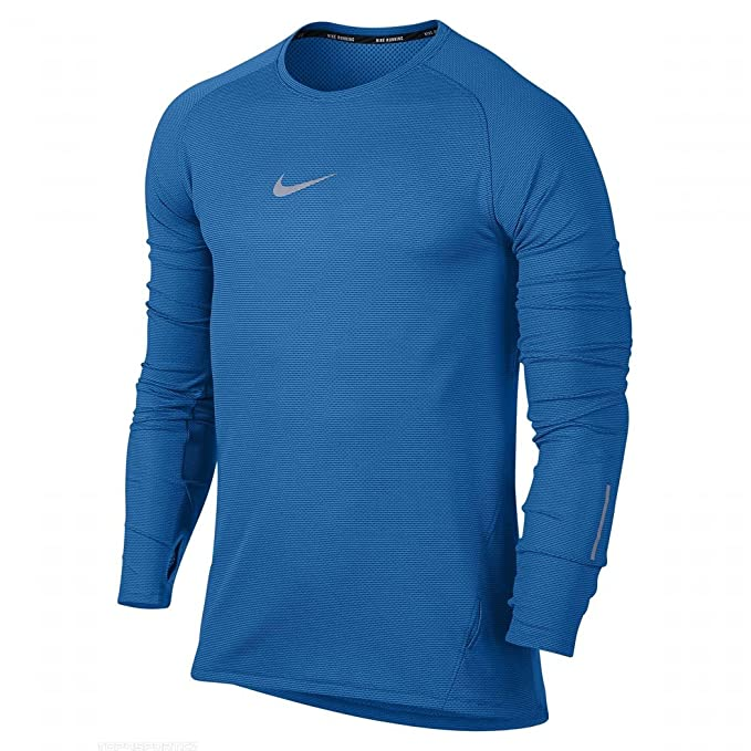 1d5aa6b3fec08 Nike Mens Aeroreact Dri-Fit LS Running Shirt 683910 406 Blue (L) at ...