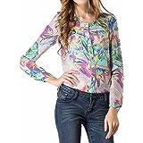 QIYUN.Z Neue Mehrfarbige Gedruckte Frauen Langarm Chiffon V-Ausschnitt Strickjacke Shirts Tops
