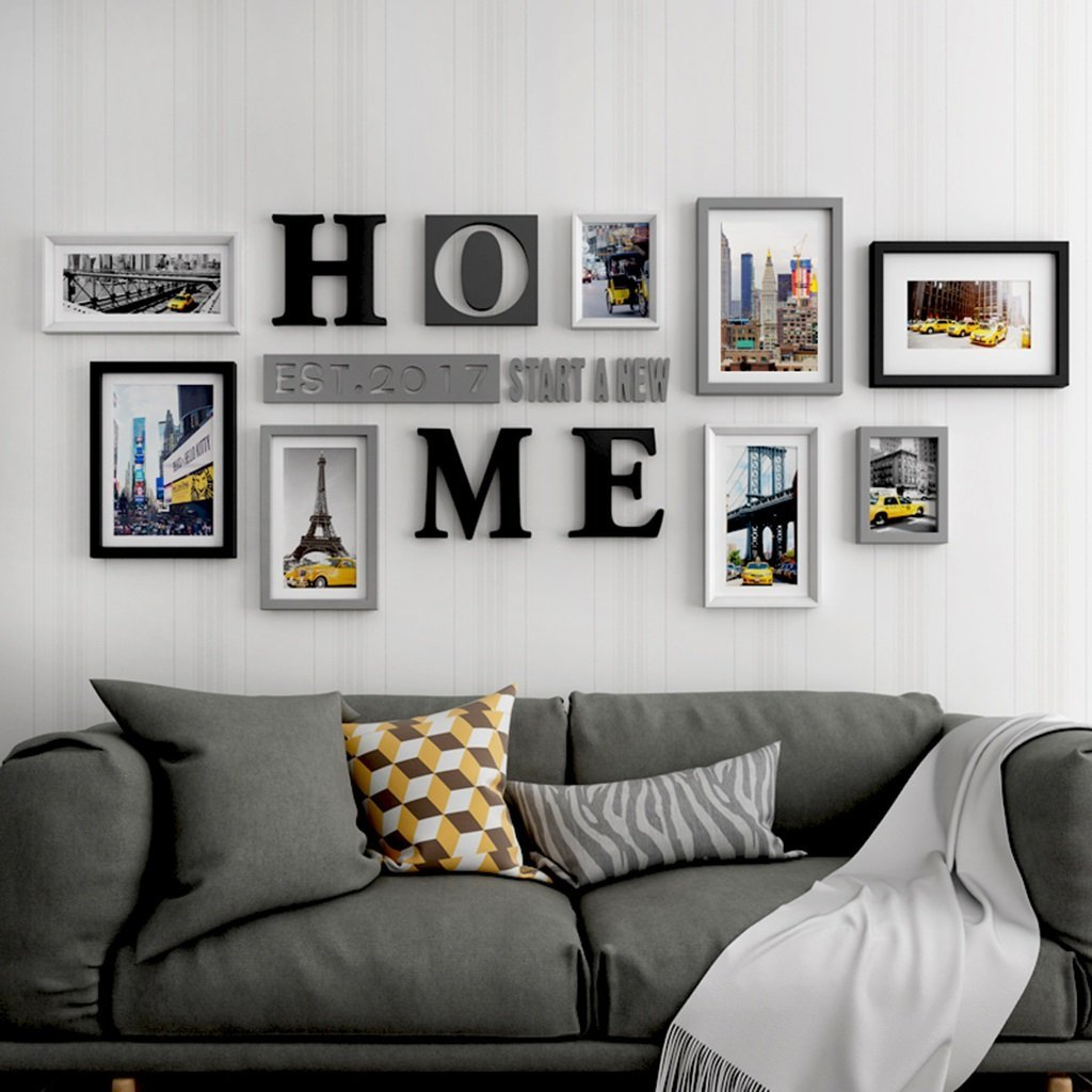 Home Photo Frame 9 Pieces Set Glass Front Multi Picture Photo Frames Home Accessories Durable Waterproof Modern Simple Style Photo Frames (Color : A)