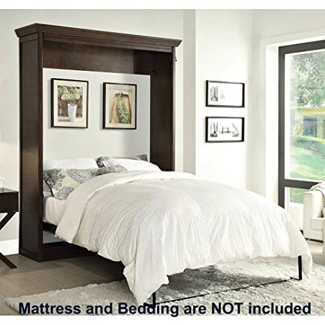 Amazon.com: Coventry Wall Bed Queen Size Pull Down Folding Walnut ...