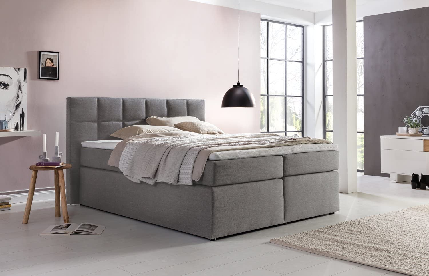 Joy Box Spring Bed Bea H3 Grey 160 X 200 Cm Including Delivery To The Bedroom Furniture 7 Zone Pocket Spring Mattress Memory Topper American Luxury Hotel Bed Upholstered Amazon De Kuche Haushalt
