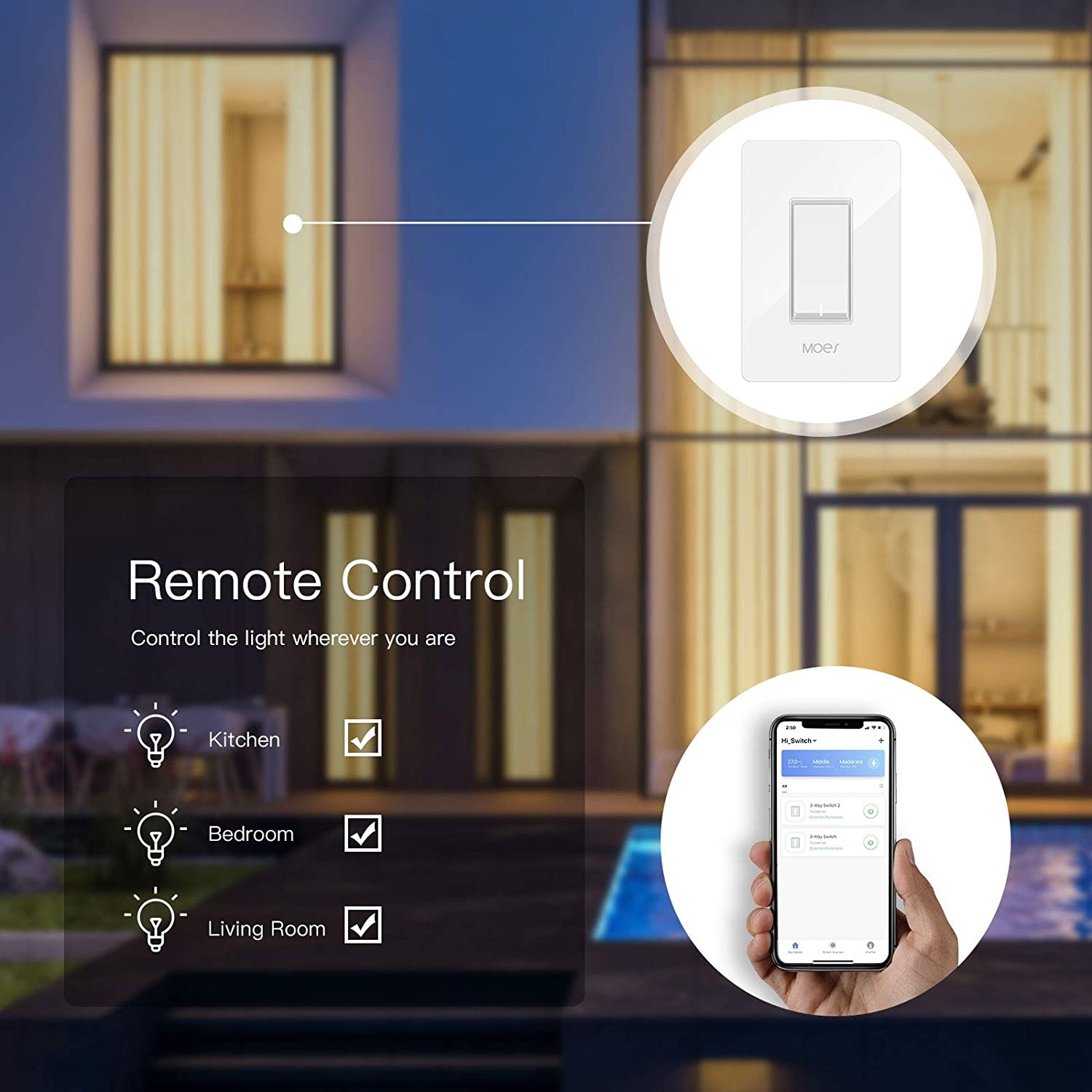 Moes 3 Way Wifi Smart Switch For Light Fan Compatible With Alexa And Google Home