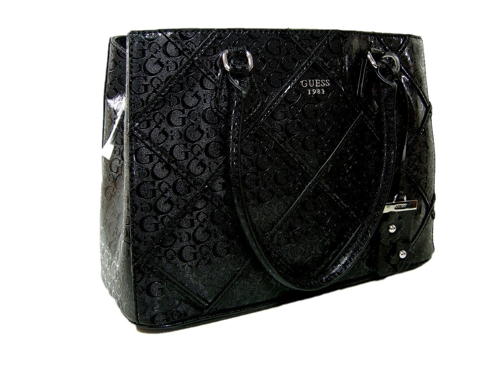 New Guess G Logo Embossed Purse Satchel Hand Bag Black Patent Glossy Maps