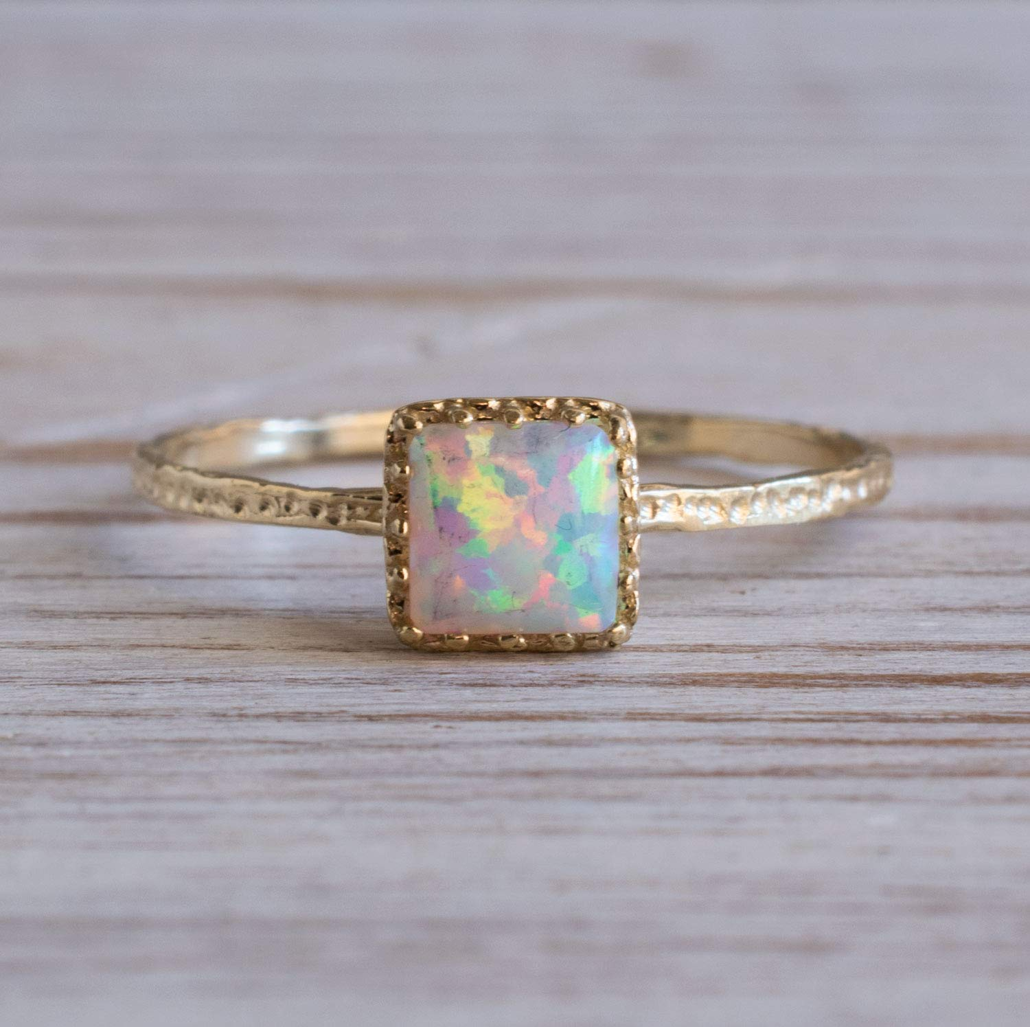 14K Gold White Opal Ring October Birthstone Simple Minimal Jewelry for Delicate Women Minimalist Handmade Gift Unique Thin Midi Promise Ring 14K Solid Yellow Gold Dainty Ring 5x5mm Gemstone