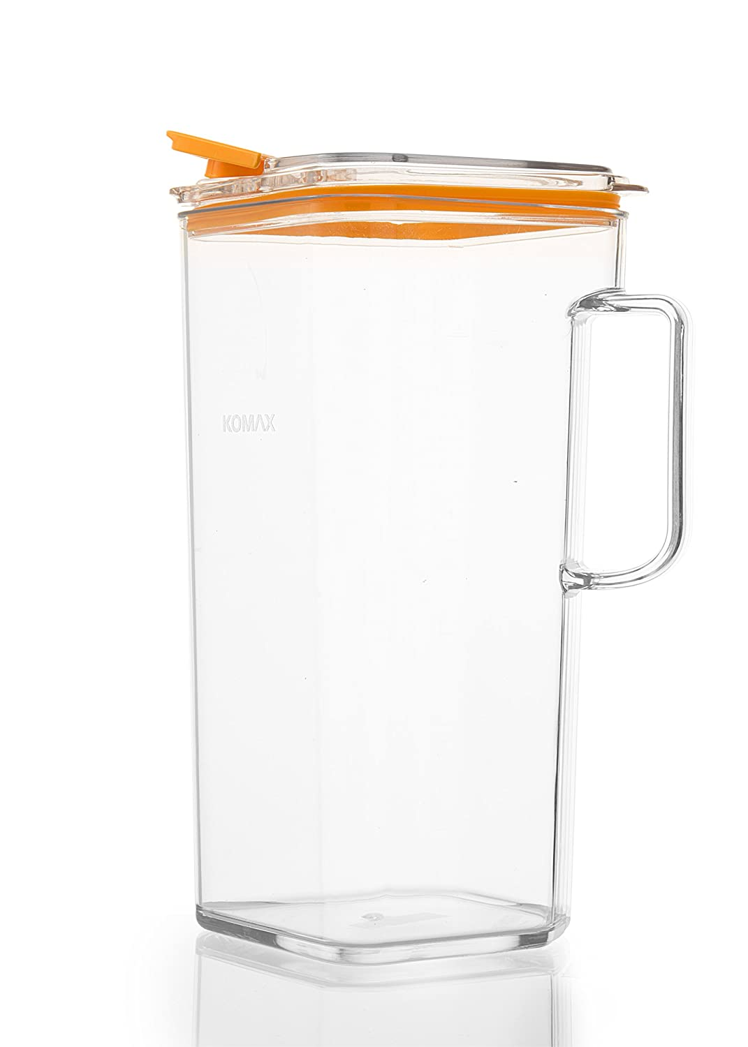 Komax Tritan Plastic Pitcher With Lid | 60-oz (1.8-quart) Water Pitcher With Orange Lid | Compact Water, Tea, Lemonade, Milk, Sangria Pitcher | Space Saving Water Pitcher | BPA-Free Plastic Carafe