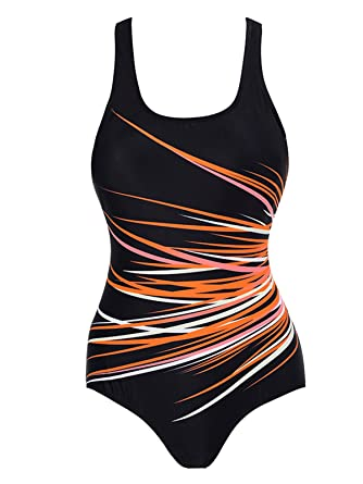 526853afdd8ac Zando One Piece Printed Athletic Training Suit for Women Raceback Sports  Resistant Swimwear Conservative Swimsuits Orange