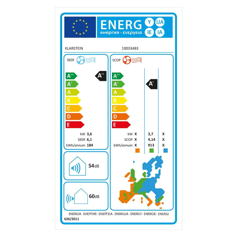 A++//A+ und Golden Fin Technology /• 54-60 dB /• Energieeffizienzklassen K/ühlen//Heizen Klarstein Windwalker Smart Split-Klimaanlage /• 1090//970W /• 600 m/³//h /• 12000 BTU /• selbstreinigend /• Fresh Air