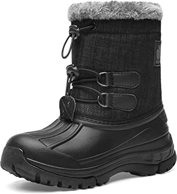 Smart.A Boy /& Girls Snow Boots Winter Outdoor Waterproof Fur Lined Toddlers//Kids