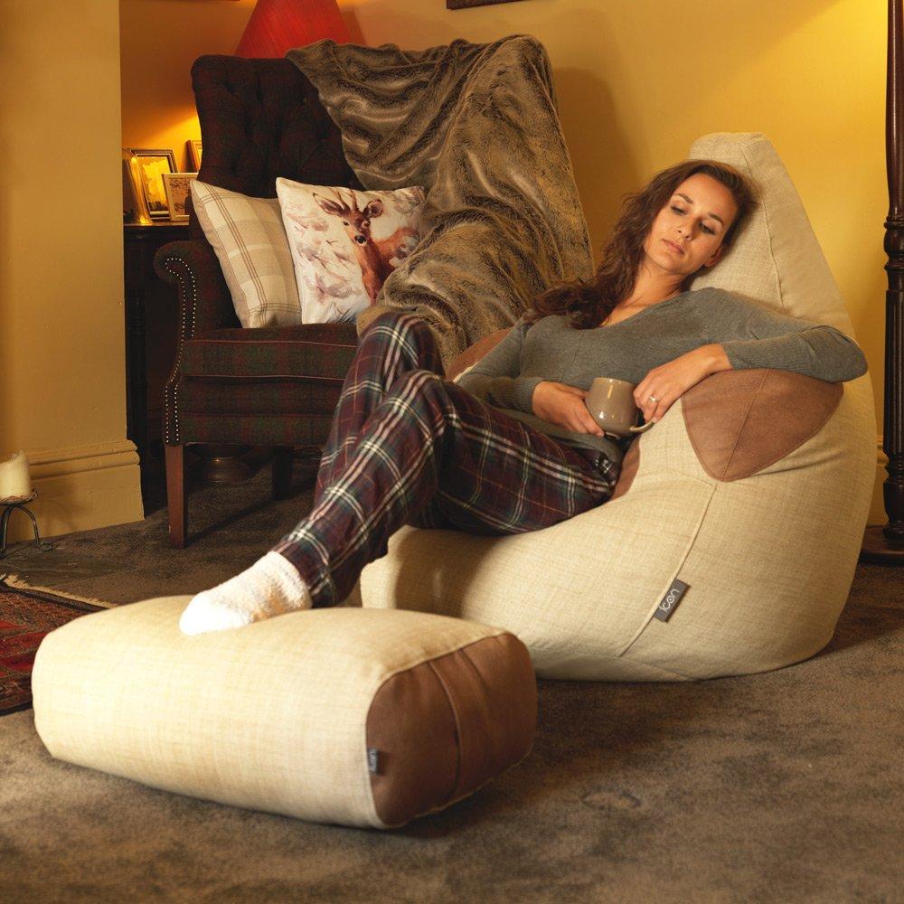 Icon Shetland géant Fauteuil pouf avec pouf assorti Repose-pieds – tissé de luxe Sacs de haricots