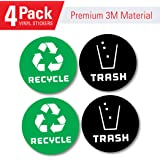 Recycle and trash bin logo stickers (4 Pack GREEN) 4in x 4in - Organize trash - For metal or plastic garbage cans, containers and bins - indoor & outdoor - Home, kitchen, or office - Premium decal