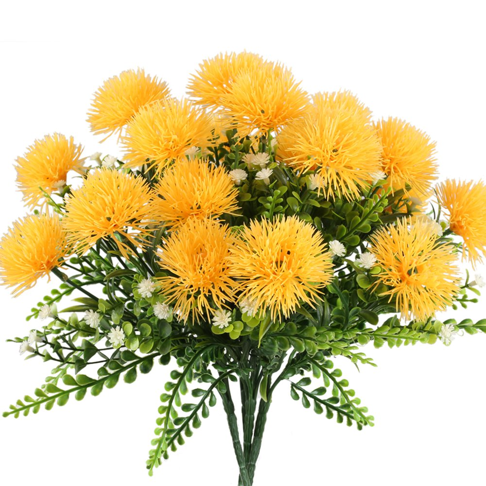 Nahuaa 4PCS Artificial Flowers Fake Plastic Flowering Plants Faux Shrub Bundle Table Floral Centerpieces Arrangements Home Kitchen Office Windowsill Spring Decorations Yellow