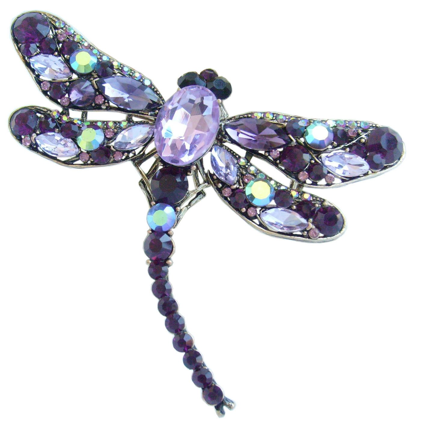 Sindary Elegant 3.74'' Gold-Tone Purple Rhinestone Crystal Dragonfly Brooch Pin Pendant BZ5684 by Animal Brooch-Sindary Jewelry (Image #1)
