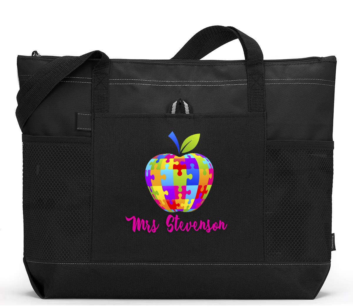 Autism Apple Personalized Zippered Teacher Tote Bag