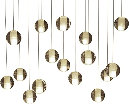 Orion 16 Light Rectangular Floating Glass Globe LED Chandelier