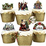 29 Stand Up Vintage Victorian Christmas Themed Premium Edible Wafer Paper Cake Toppers Decorations