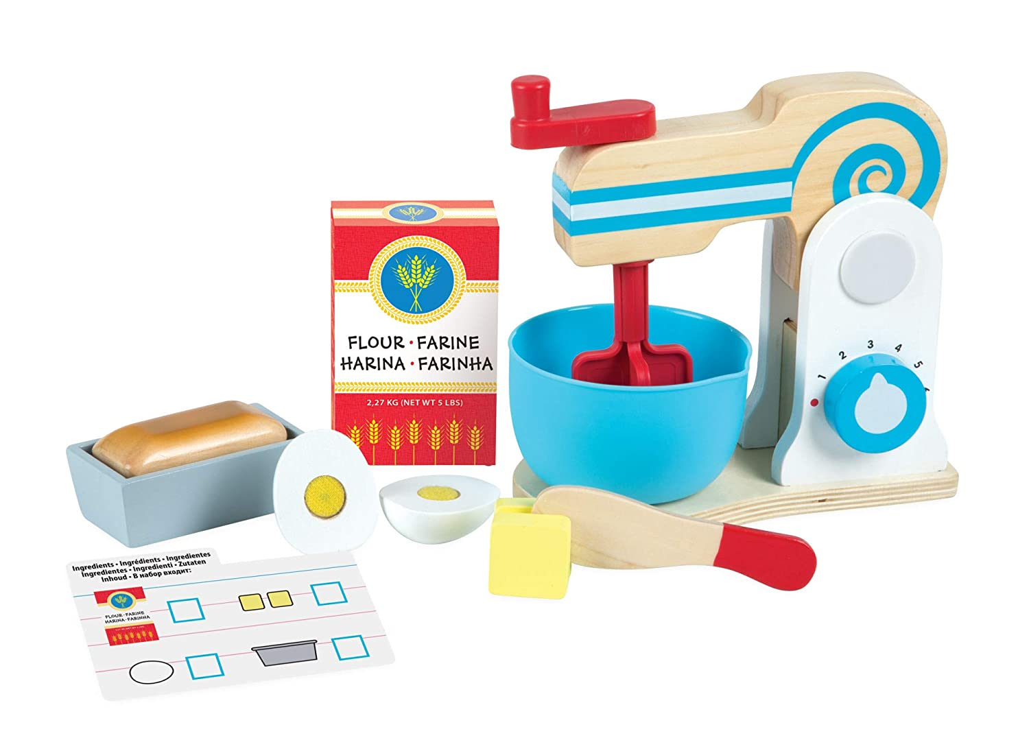 Melissa & Doug Wooden Make-a-Cake Mixer Set, 19840: Amazon.es: Juguetes y juegos