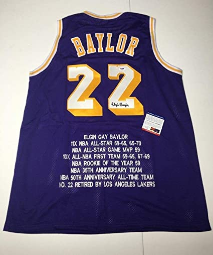 dfbf390e3f15 Signed Elgin Baylor Jersey -  HOF AE30632 - PSA DNA Certified - Autographed  NBA