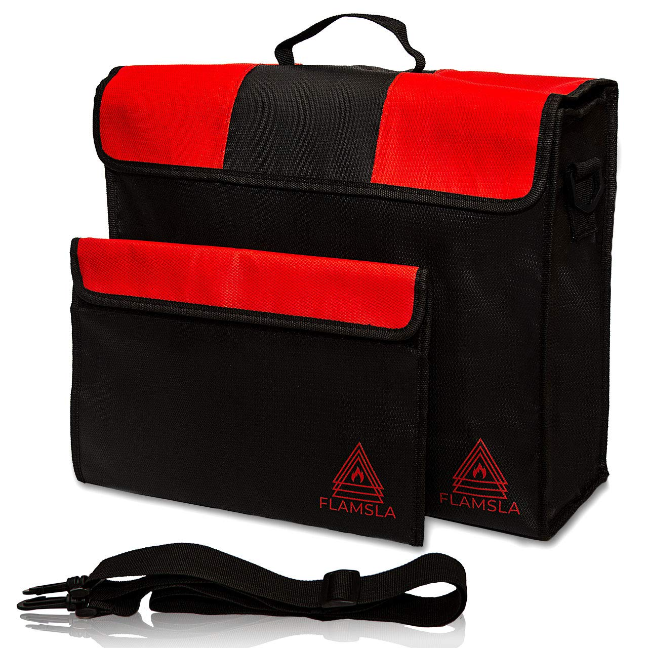 Flamsla Fireproof Safe Bags - Best 2pc Set of XL LARGE Fireproof Document Bags (15''x12''x5'')+ Small 13'' Fireproof Envelope- Fire & Water Resistant Case to protect Money, Files,Gadget, Jewelry,Valuables