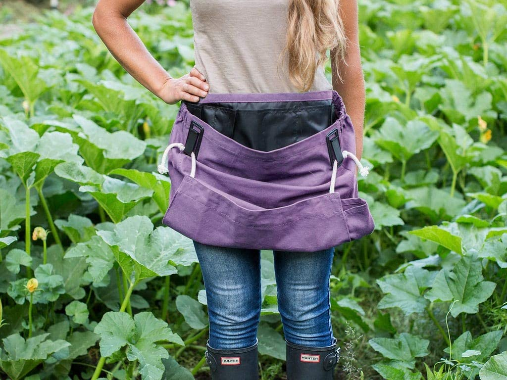Roo Garden Apron - The Joey - Gardening, Work and Harvesting Tool Belt with Storage Pockets and Canvas Pouch - Womens One Size Fits All - Cotton Canvas, Machine Washable -Purple Orchid