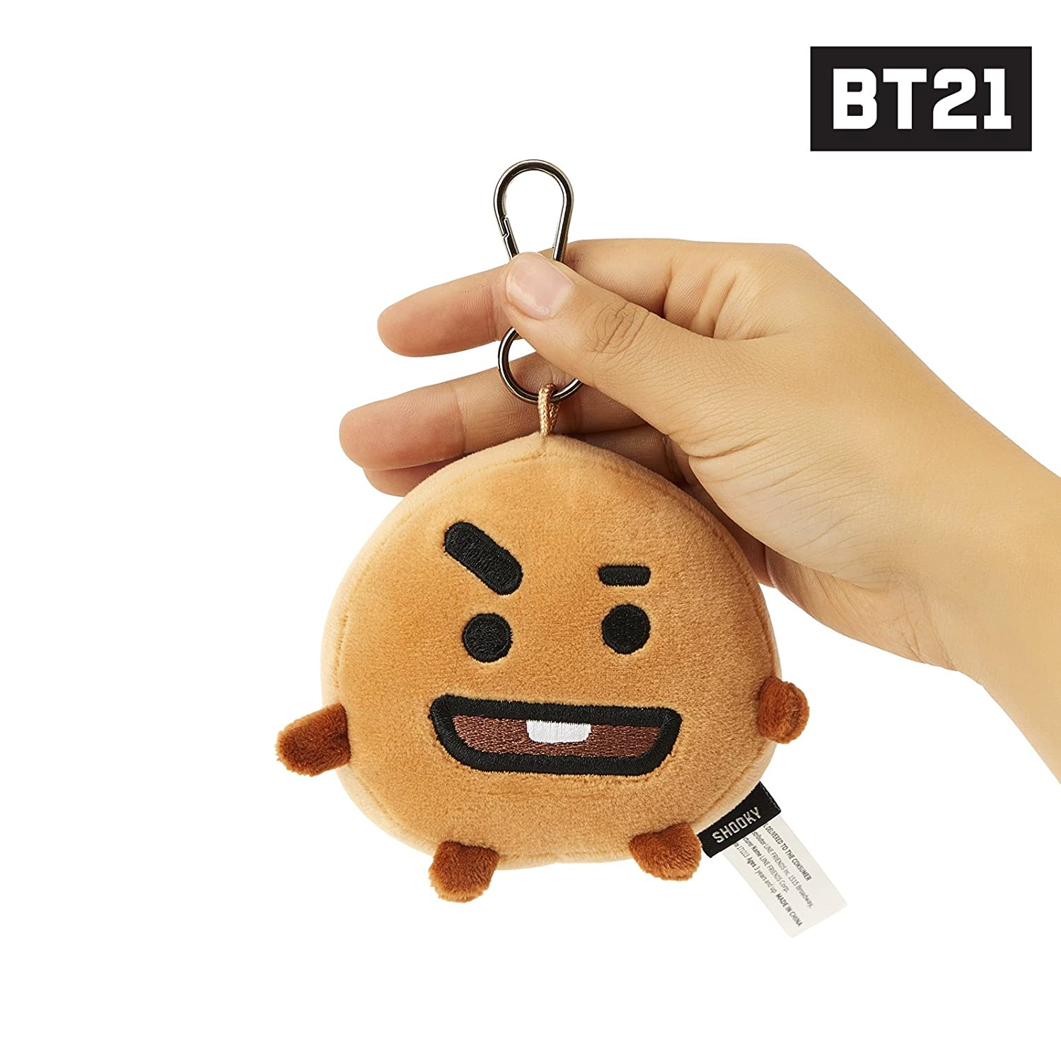 LINE FRIENDS BT21 Official Merchandise SHOOKY Character Doll Face Keychain Ring Cute Handbag Accessories