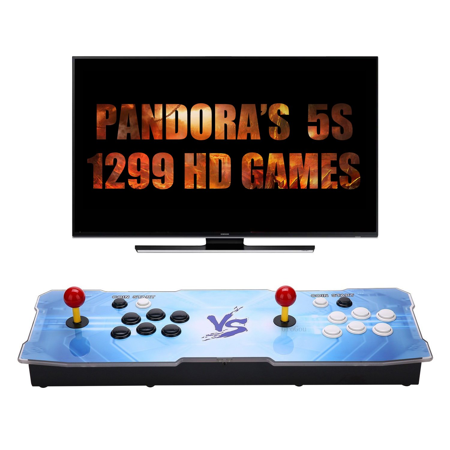[999 HD Arcade Games] GroGou Arcade Video Game Console 999 Retro Games Pandora's Box 5s Plus Colorful LED Arcade Machine Double Arcade Joystick Built-in Speaker