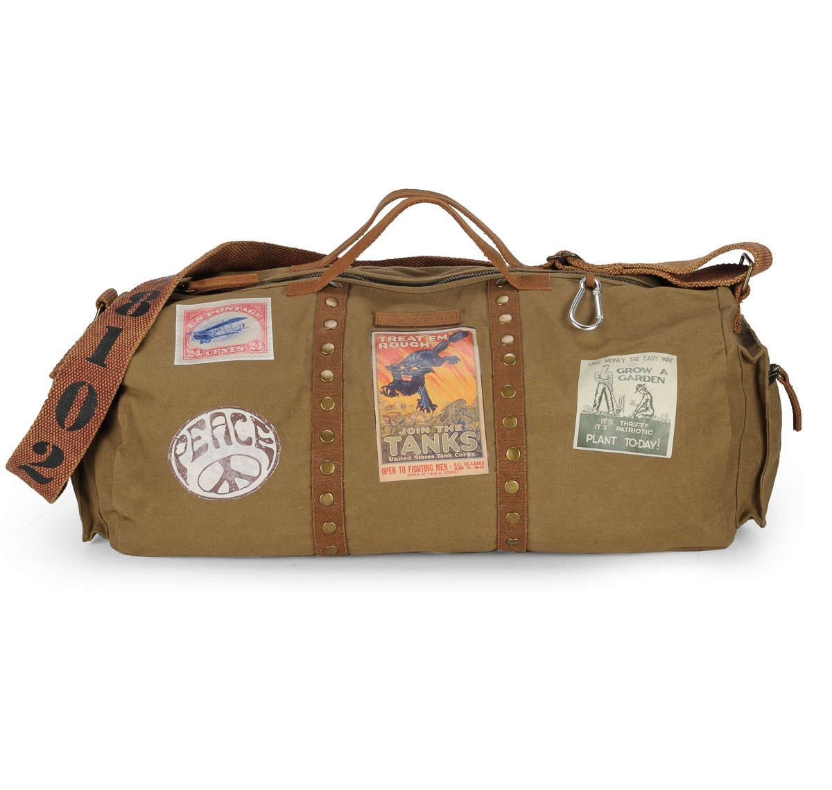 f9360c72706a The House of tara FabricOlive Green Vintage Duffle Bag  Amazon.in  Bags