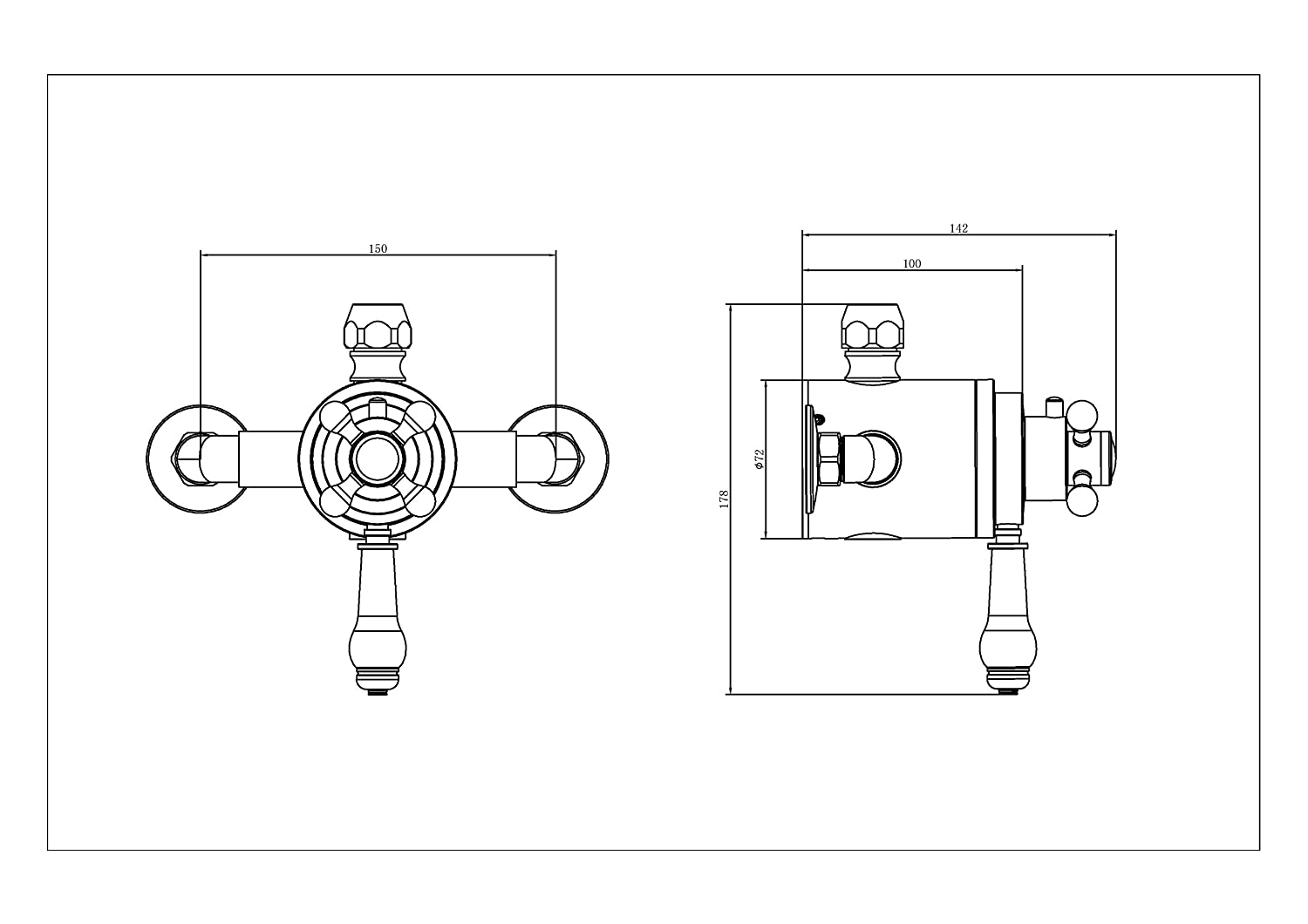 Chrome Concentric Thermostatic Brass Shower Valve Modern & Victorian (Victorian inline Handles) Tailored-Plumb