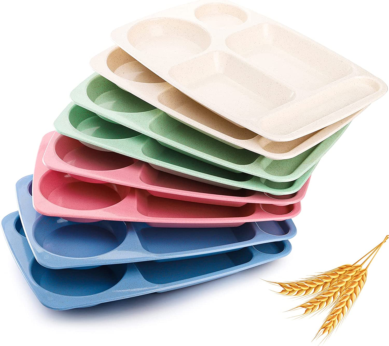 WUWEOT 8 Pack Divided Food Plates, 13.5