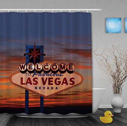 Luxury Home Decor Shower Curtain Fabulous Las Vegas Bathroom Curtains Waterproof Mildew Polyester Fabric Blue 72quot