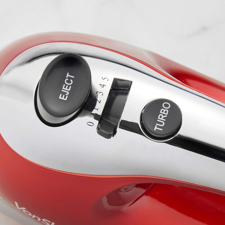 VonShef Batidora de Mano Roja de 400W - Incluye Varillas de Acero Inoxidable, Ganchos para masa, Batidor de globos + 5 Velocidades con botón turbo: ...