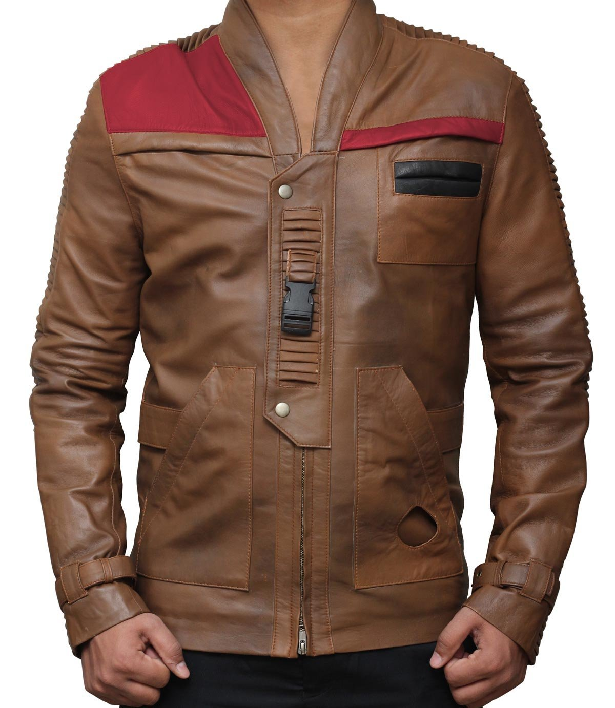 Star Wars Finn Outerwear Jacket Real Brown Leather Jackets Holiday Gifts (M, Chocolate Brown) by fjackets (Image #1)