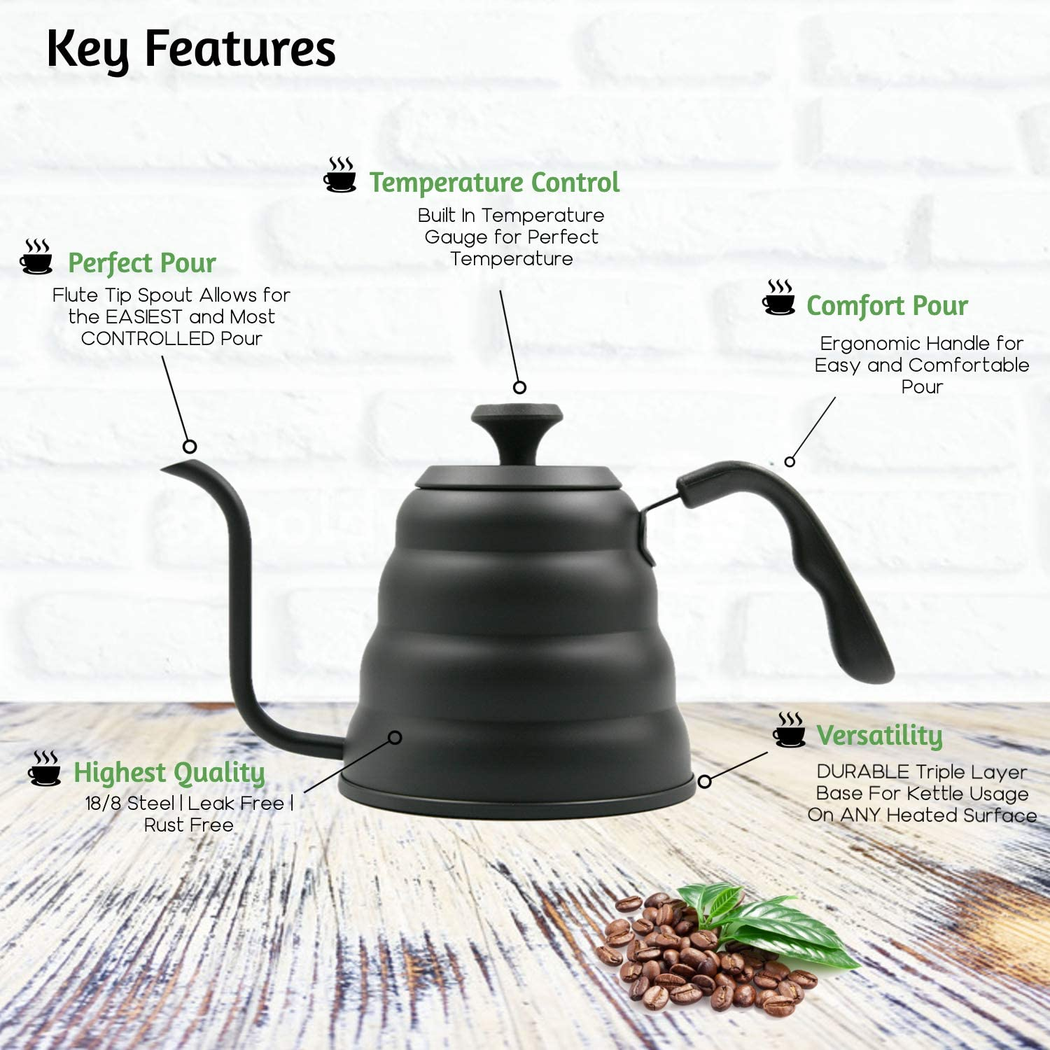 Pour Over Coffee Kettle – Black Gooseneck Pour Over Coffee Dripper and Tea Pot With Thermometer, Stovetop Travel Kettle For Coffee Pour Over – 40 Ounce