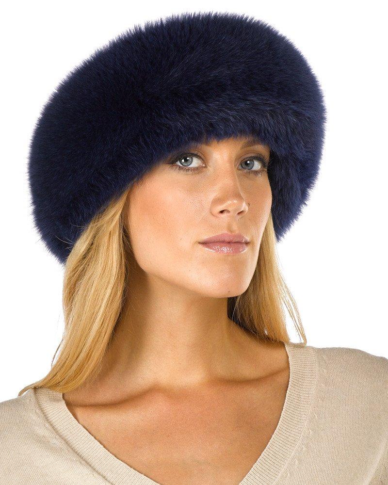 Navy Blue Fox Fur Headband