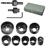 """Hole Saw Set, Drillpro 11 PCS Hole Saw Kit 3/4'' - 2 1/2 """"inch for Woodworking"""