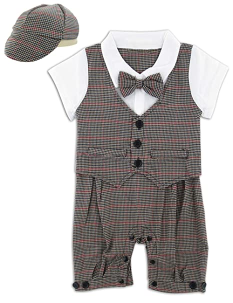 6-18 Months A/&J DESIGN Newborn Baby Boys Gentleman Suit Lattice OutfitsTuxedo Romper Set with Bowtie and Hat