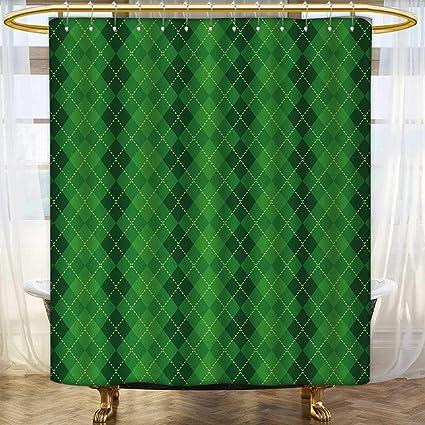 Irish Shower Curtains Waterproof Long Antique Tartan Inspired Symmetrical Checkered Diamond Line Plaid Fashion Custom Made