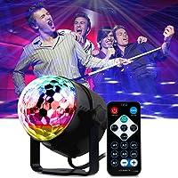 Luces de Discoteca Sonido Activado - Mopalwin Mini bola mágica lámpara etapa 7 Colores RGB de Luz con Mando Distancia Giratorio Efecto Luminoso Para Fiesta KTV Bar [Clase de eficiencia energética A+]