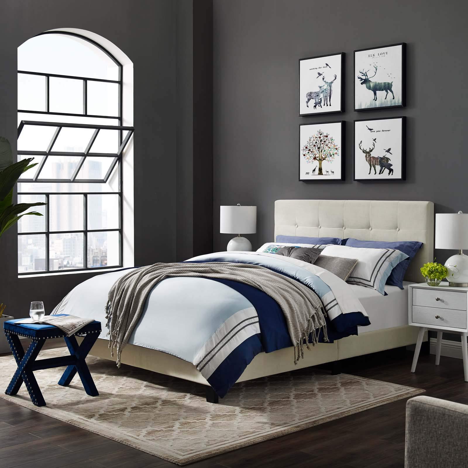 Modway MOD-5859-IVO Amira Full Upholstered Velvet Bed, Ivory