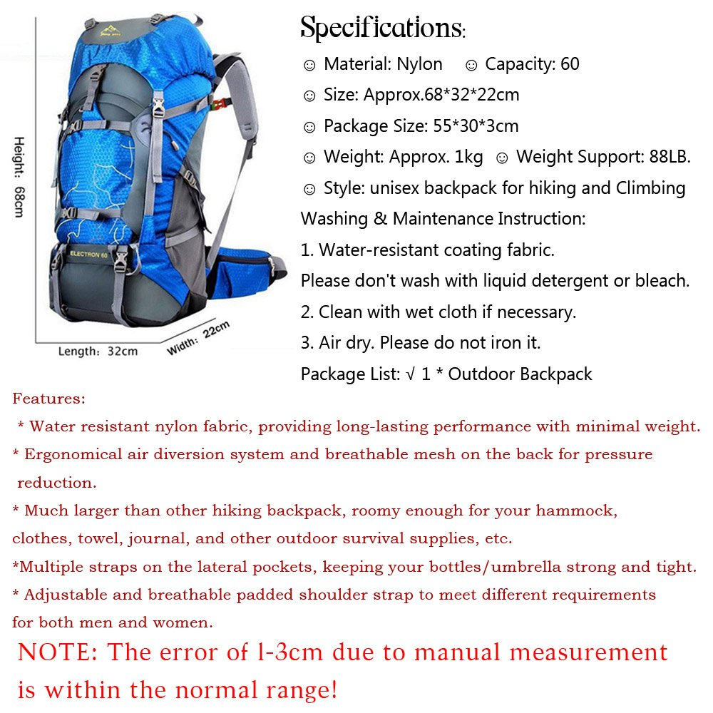 60L Outdoor Sport Bags Water-resistant Hiking Backpack for Men And Women/Trekking Bag Backpacking/Climbing Backpack/camping Backpack/Travel Backpack Mountaineering Backpacks brand (Black6, 60L)