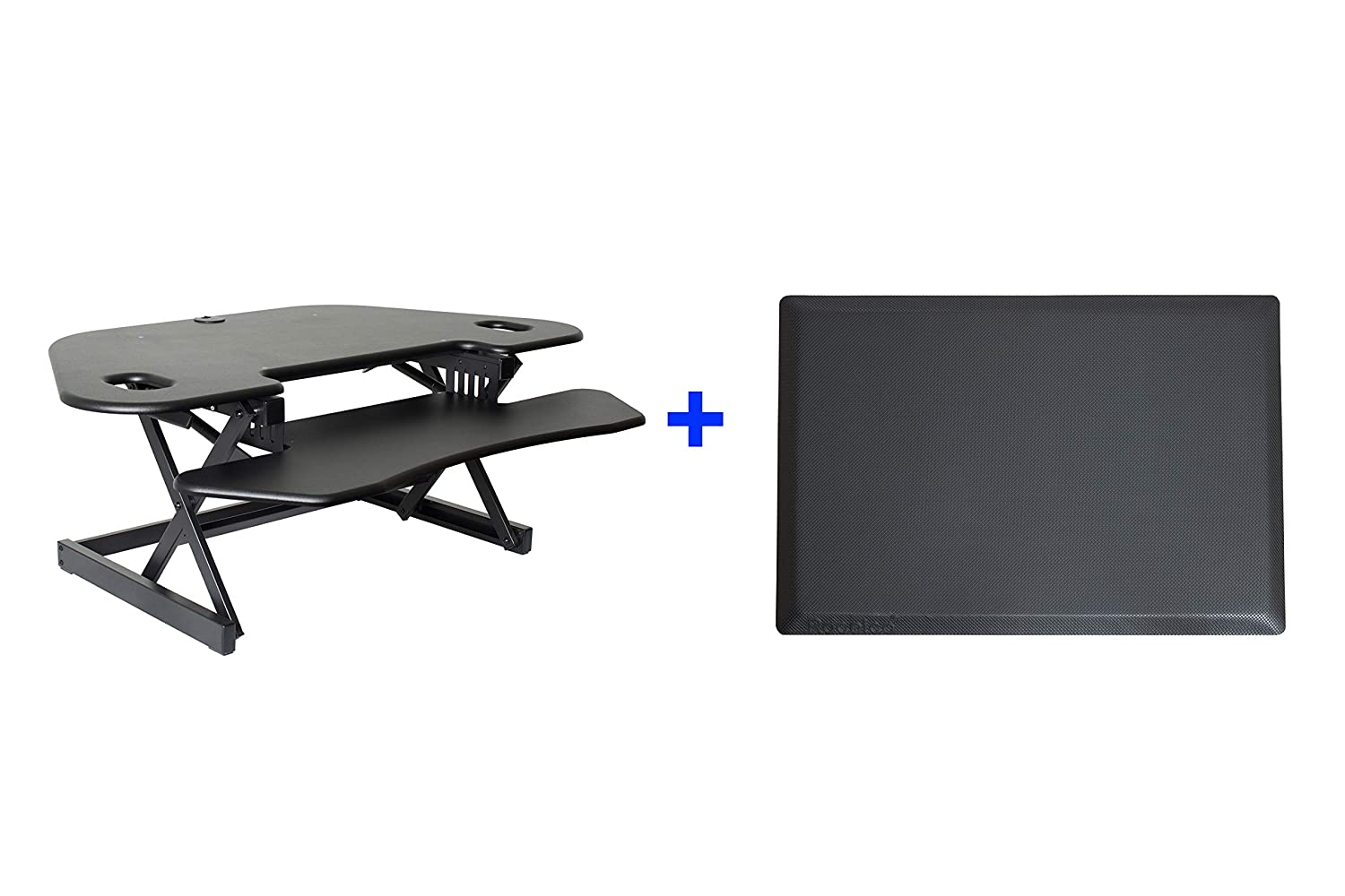 Rocelco 46 Height Adjustable Corner Standing Desk Converter Bundle Sit Stand Computer Workstation Riser Dual Monitor Keyboard Tray Gas Spring Assist Black with Anti Fatigue Mat CADRB-46-MAFM