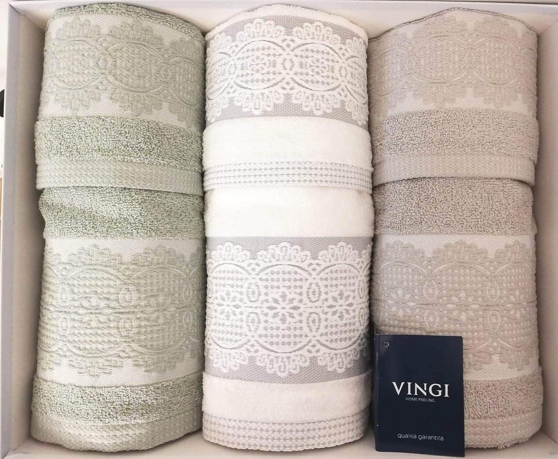 Verde, Bianco e Grigio 3 Ospiti Vingi Margaret Spugna 100/% Cotone. Set da Bagno 3 Asciugamani