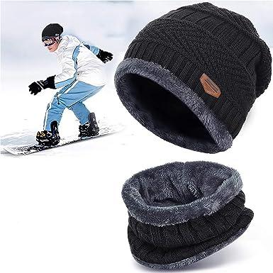 Bonnet Hiver Chapeau Beanie Écharpe Tour de Cou Doublure Polaire Tricot  pour Homme Femme Unisexe Chaude 7d48d2f52c6